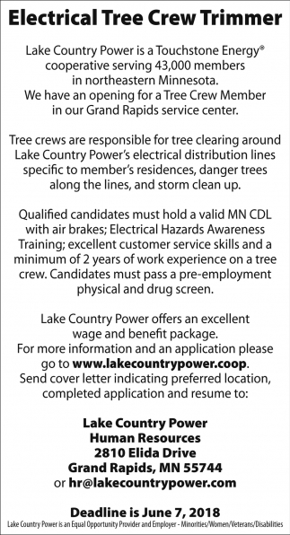 Electrical Tree Crew Trimmer Lake Country Power Grand Rapids Mn